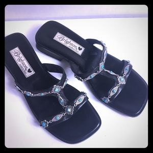 Brighton /Italy /Blk Sandals W Turquoise/Silver 6M